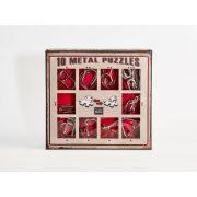 10 Metal Puzzle Set - piros Level 1-3 - Cast - fém ördöglakat
