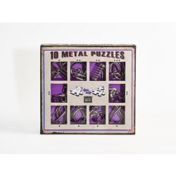10 Metal Puzzle Set - lila Level 1-3 - Cast - fém ördöglakat