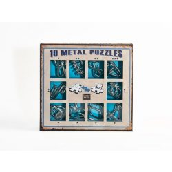 10 Metal Puzzle Set - kék Level 1-3 - Cast - fém ördöglakat